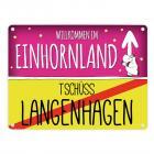 Willkommen im Einhornland - Tschüss Langenhagen Einhorn Metallschild