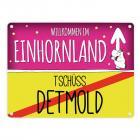 Willkommen im Einhornland - Tschüss Detmold Einhorn Metallschild