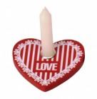 Herz Kerzenhalter in rot mit weißer Kerze