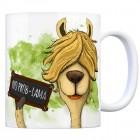 Kaffeebecher mit Lama Motiv und Spruch: No Prob-lama