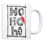 Kaffeebecher mit Weihnachtsmotiv Motiv und Spruch: Ho Ho Ho