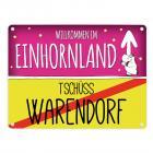 Willkommen im Einhornland - Tschüss Warendorf Einhorn Metallschild