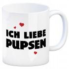 Kaffeebecher mit Spruch: Ich liebe pupsen