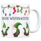 Kaffeebecher mit Wichtel Motiv und Spruch: Frohe Weihnachten