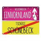 Willkommen im Einhornland - Tschüss Schönebeck Einhorn Metallschild