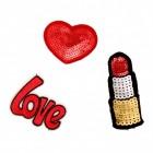 Herz, Lippenstift und Love Bügelbilder im 3er Set