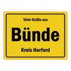 Viele Grüße aus Bünde, Kreis Herford Metallschild