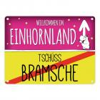 Willkommen im Einhornland - Tschüss Bramsche Einhorn Metallschild