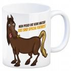 Kaffeebecher mit Pferde Motiv und Spruch: Mein Pferd hat keine Macke. Das ...