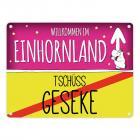 Willkommen im Einhornland - Tschüss Geseke Einhorn Metallschild