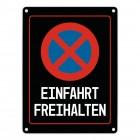 Einfahrt freihalten Warn- und Hinweisschild in Schwarz mit Piktogramm