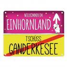 Willkommen im Einhornland - Tschüss Ganderkesee Einhorn Metallschild