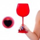 Herz Weinglas in rot mit Aufbewahrungstasche
