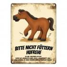 Metallschild mit Pferde Motiv und Spruch: Bitte nicht füttern - Hufrehe