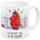 Kaffeebecher mit Einhorn Motiv und Spruch: Ich bin nicht süß