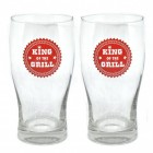 2er Set King of the Grill Biergläser mit Logo in rot
