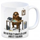 Kaffeebecher mit Faultier im Büro Motiv und Spruch: Nur noch ein paar Stunden blöd ...