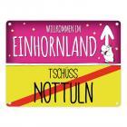 Willkommen im Einhornland - Tschüss Nottuln Einhorn Metallschild