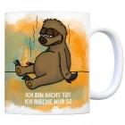 Kaffeebecher mit Faultier Motiv und Spruch: Ich bin nicht tot, ich rieche ...