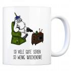 Honeycorns Kaffeebecher mit Einhorn Motiv und Spruch: So viele gute Serien so wenig ...
