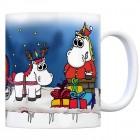 Honeycorns Kaffeebecher mit dickem Einhorn Weihnachtsmann Motiv