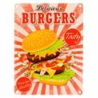 Das Fast Food Delicious Burgers Metallschild in 15x20 cm