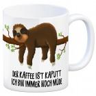 Kaffeebecher mit Faultier Motiv und Spruch: Kaffe ist kaputt…