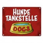 Metallschild mit Wassernapf Motiv und Spruch: Hundetankstelle