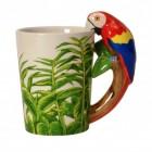 Papagei 3D Kaffeebecher mit Ara als Griff aus Keramik