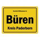 Herzlich willkommen in Büren, Westfalen, Kreis Paderborn Metallschild