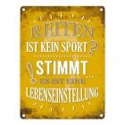 Metallschild mit Spruch: Reiten ist kein Sport? Stimmt, ...