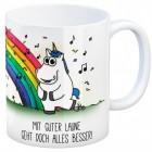 Kaffeebecher mit Einhorn Motiv und Spruch: Mit guter Laune ...