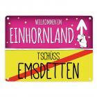 Willkommen im Einhornland - Tschüss Emsdetten Einhorn Metallschild