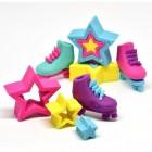 Rollschuhe und Sterne Puzzle Radiergummis im 6er Set