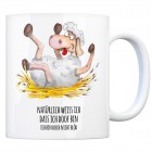 Kaffeebecher mit Schaf Motiv und Spruch: Natürlich weiß ich, dass ich doof ...