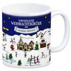 Bornheim, Rheinland Weihnachten Kaffeebecher mit winterlichen Weihnachtsgrüßen