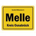 Herzlich willkommen in Melle, Wiehengeb, Kreis Osnabrück Metallschild