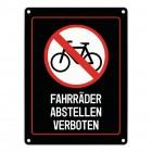 Fahrräder abstellen verboten Warn- und Hinweisschild in Schwarz mit Piktogramm