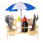 Gartenbank mit Sonnenschirm Gewürzhalter Grillset mit Kunststoff-Besteck
