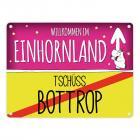 Willkommen im Einhornland - Tschüss Bottrop Einhorn Metallschild
