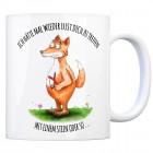 Kaffeebecher mit Fuchs mit Zwille Motiv und Spruch: Hätte Lust dich zu treffen - mit ...