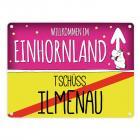 Willkommen im Einhornland - Tschüss Ilmenau Einhorn Metallschild