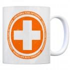Kaffeebecher mit Spruch: Lebenserhaltende Koffeeindosis