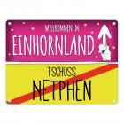 Willkommen im Einhornland - Tschüss Netphen Einhorn Metallschild