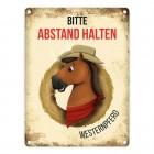 Metallschild mit Westernpferd Motiv für Pferdeanhänger