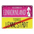 Willkommen im Einhornland - Tschüss Lennestadt Einhorn Metallschild