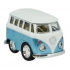 Volkswagen VW T1 Bus Comic Style Modellauto in blau mit Rückziehmotor