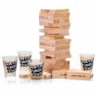 Holz Wackelturm Trinkspiel mit 4 Schnapsgläsern