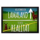 Lama Fußmatte mit Alpaka Motiv und Spruch: Willkommen im Lamaland