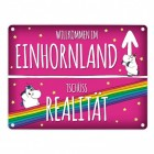 Honeycorns Einhorn Einhornland Stadtschild Metallschild
